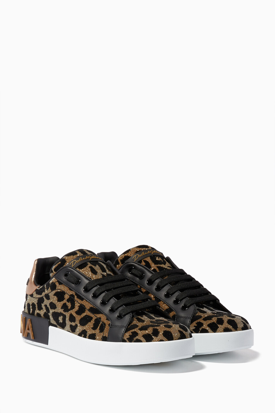 1634f8034504 Shop Dolce & Gabbana Gold Gold Leopard-Print Portofino Sneakers for ...