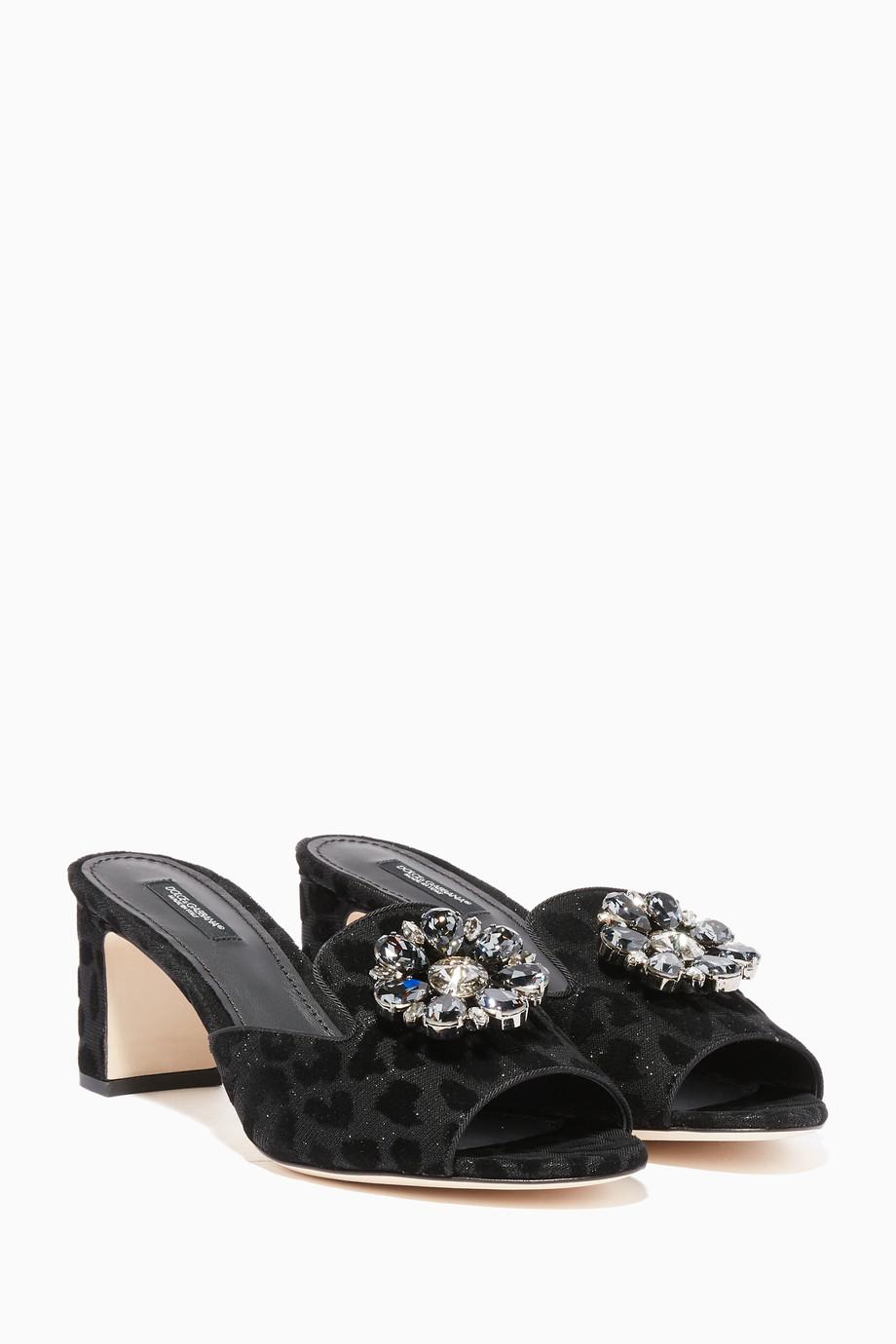 98eb6f3f18ecc9 Shop Dolce   Gabbana Black Black Leopard-Print Bianca Embellished ...