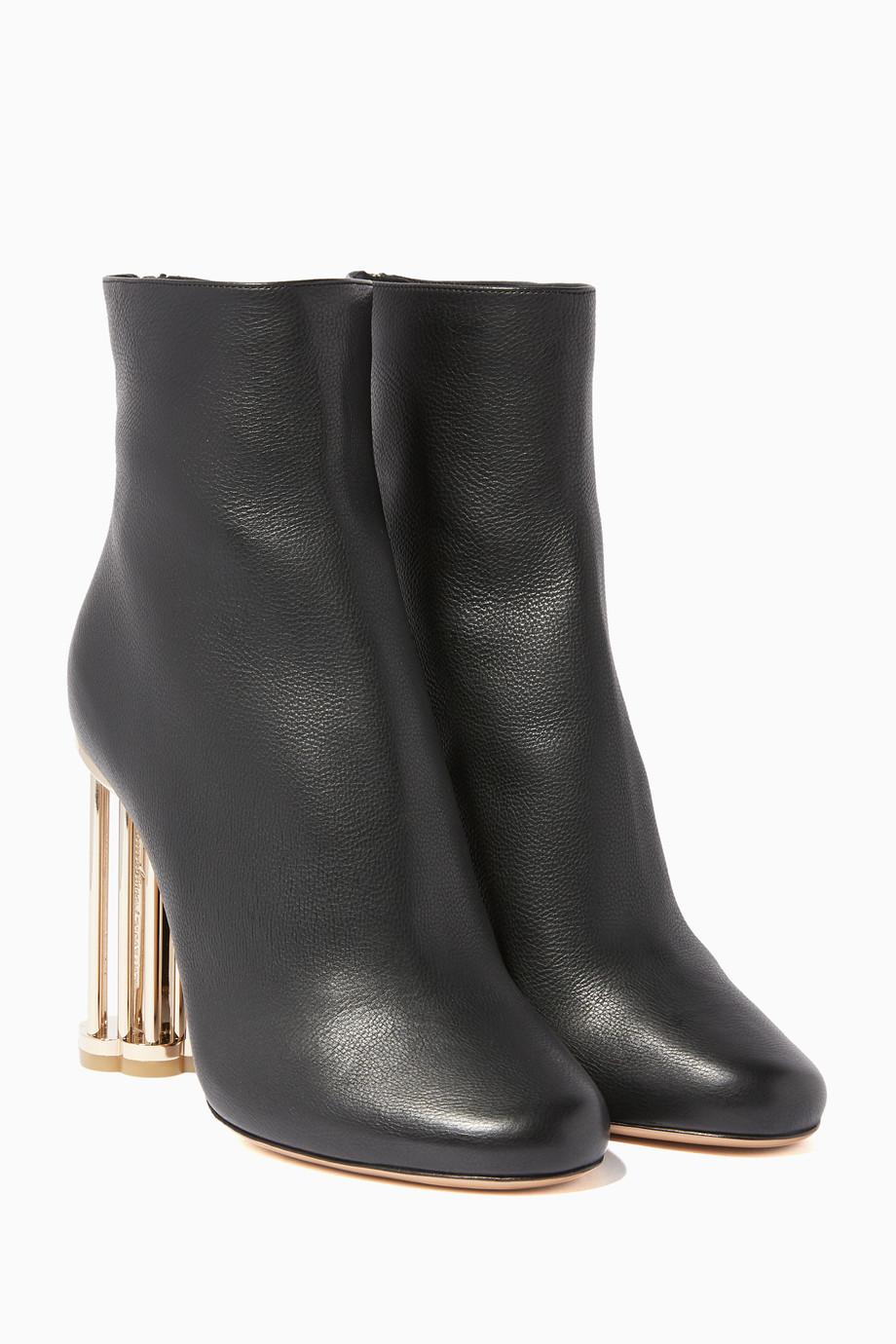 c06e8d89cf68 Shop Salvatore Ferragamo Black Black Flower-Heel Coriano Booties for ...