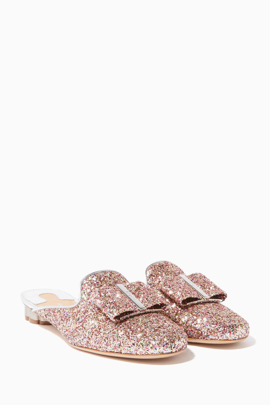 28a2faf9f51378 Shop Salvatore Ferragamo Pink Pink Glitter Flower-Heel Mule Slippers ...
