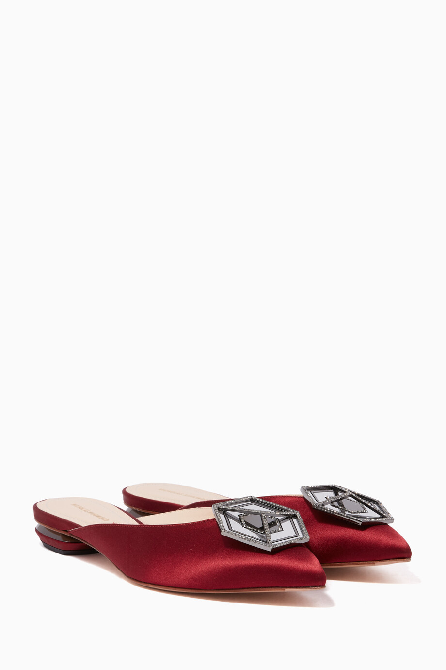 a4191aa50 Shop Nicholas Kirkwood Red Dark Red Eden Jewel Satin Slippers for ...