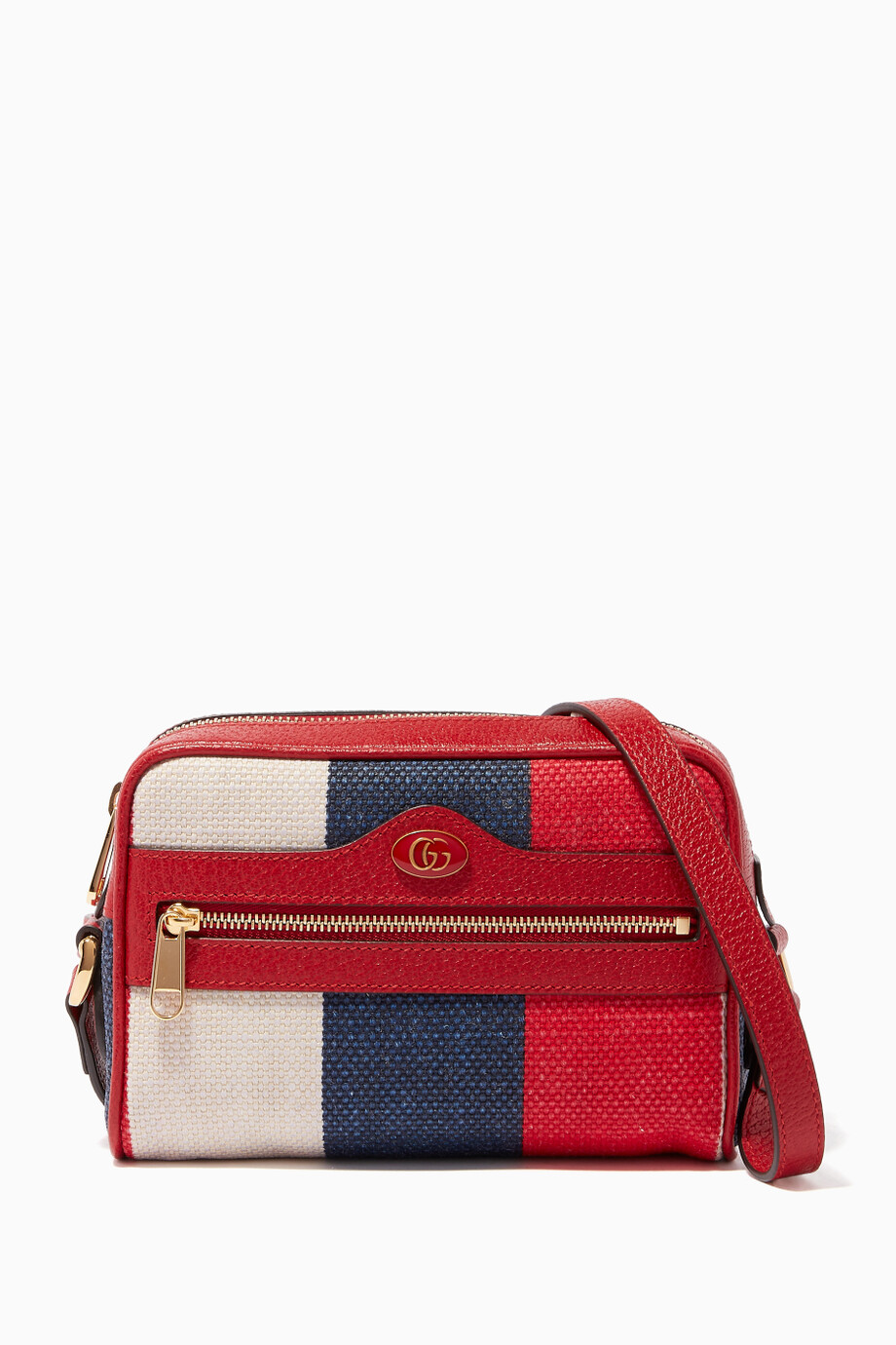 f98a3d1ff586 Shop Gucci Red Red Mini Ophidia Striped Canvas Shoulder Bag for ...