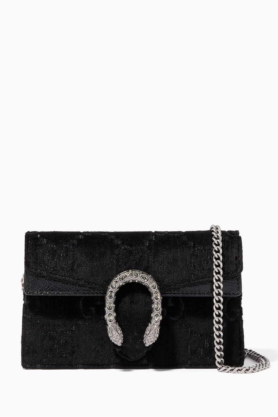 9adff70dcef Shop Gucci Black Black Velvet Super Mini Dionysus GG Bag for Women ...