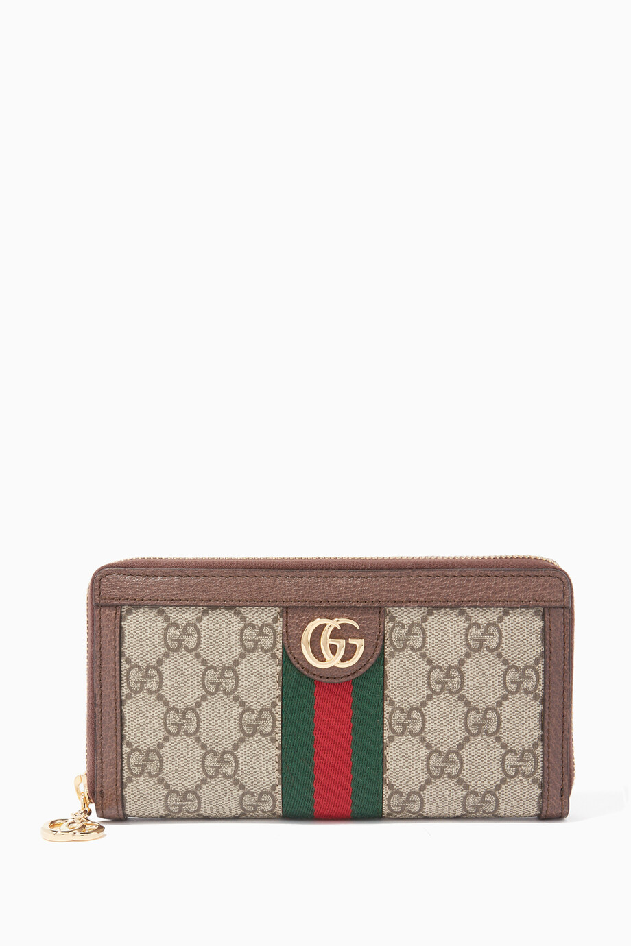 be2e6c88a7c49e Shop Gucci Brown Beige Ophidia GG Zip Around Wallet for Women ...