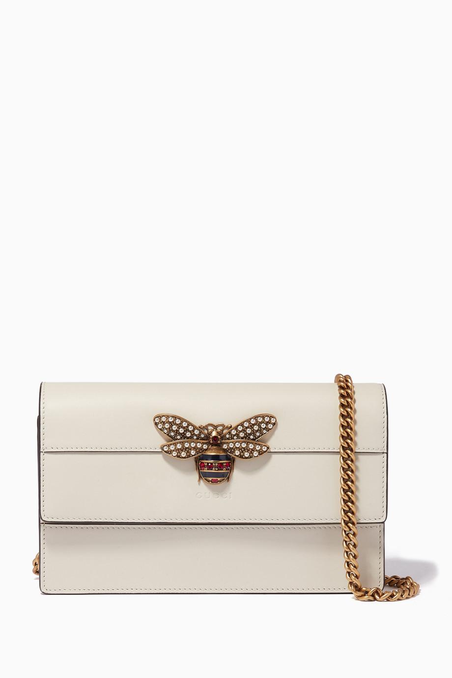 ea98a200c6800d Shop Gucci Neutral White Queen Margaret Leather Mini Bag for Women