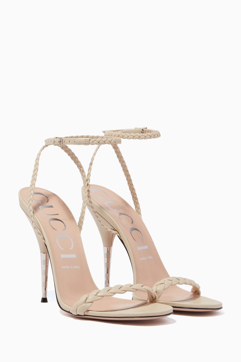 bac336014 Shop Gucci Neutral Aria Braided Leather Sandals for Women | Ounass