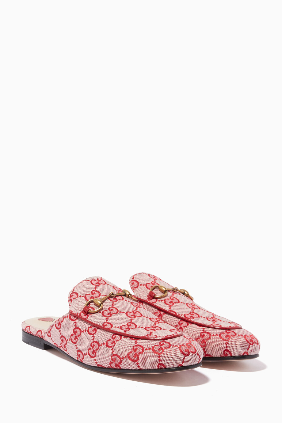 a839c700ca Shop Gucci Red Red Princetown GG Canvas Loafers for Women | Ounass