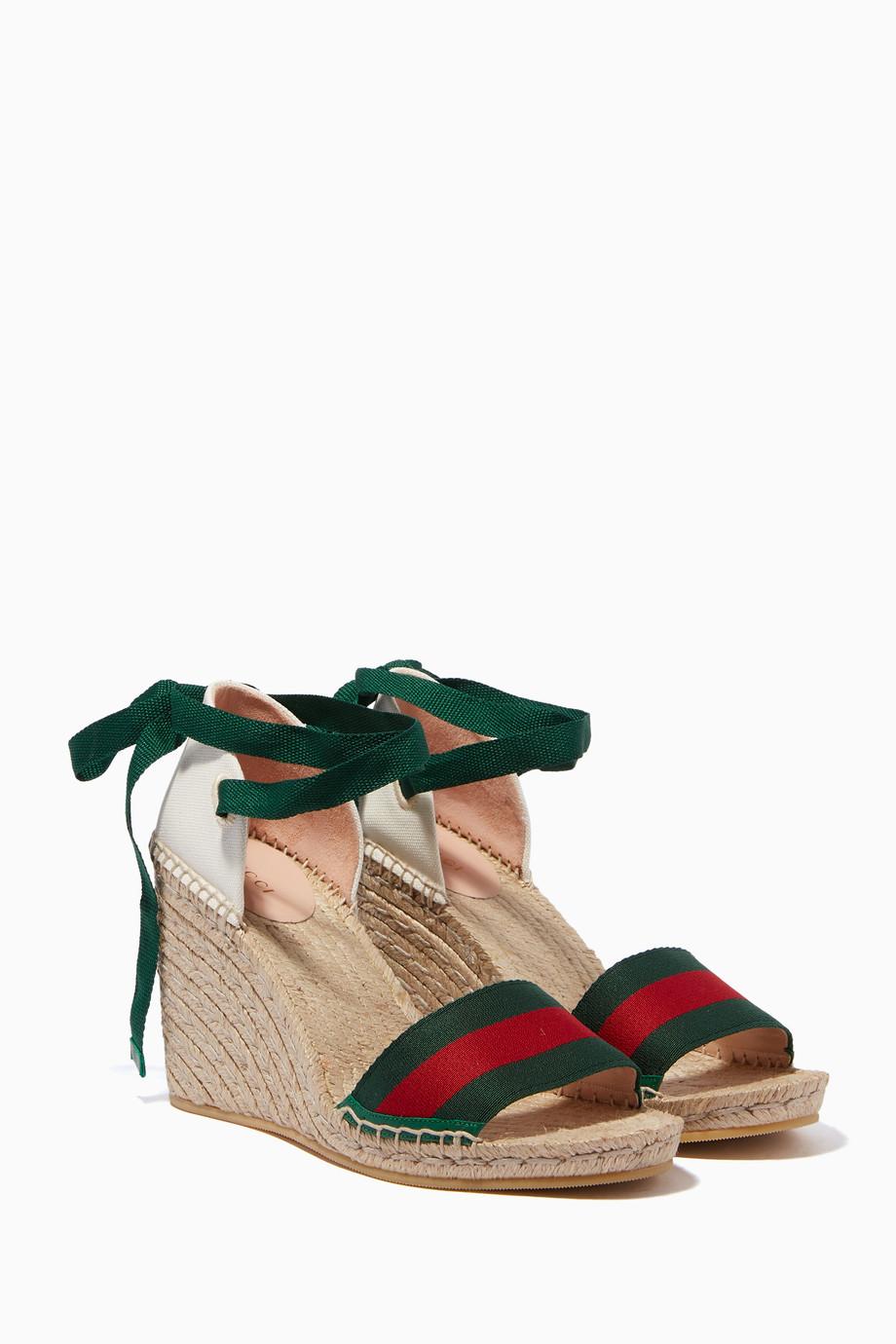 1fff50589df3 Shop Gucci Multicolour Multi-Coloured Lilibeth Web Espadrille Wedges ...