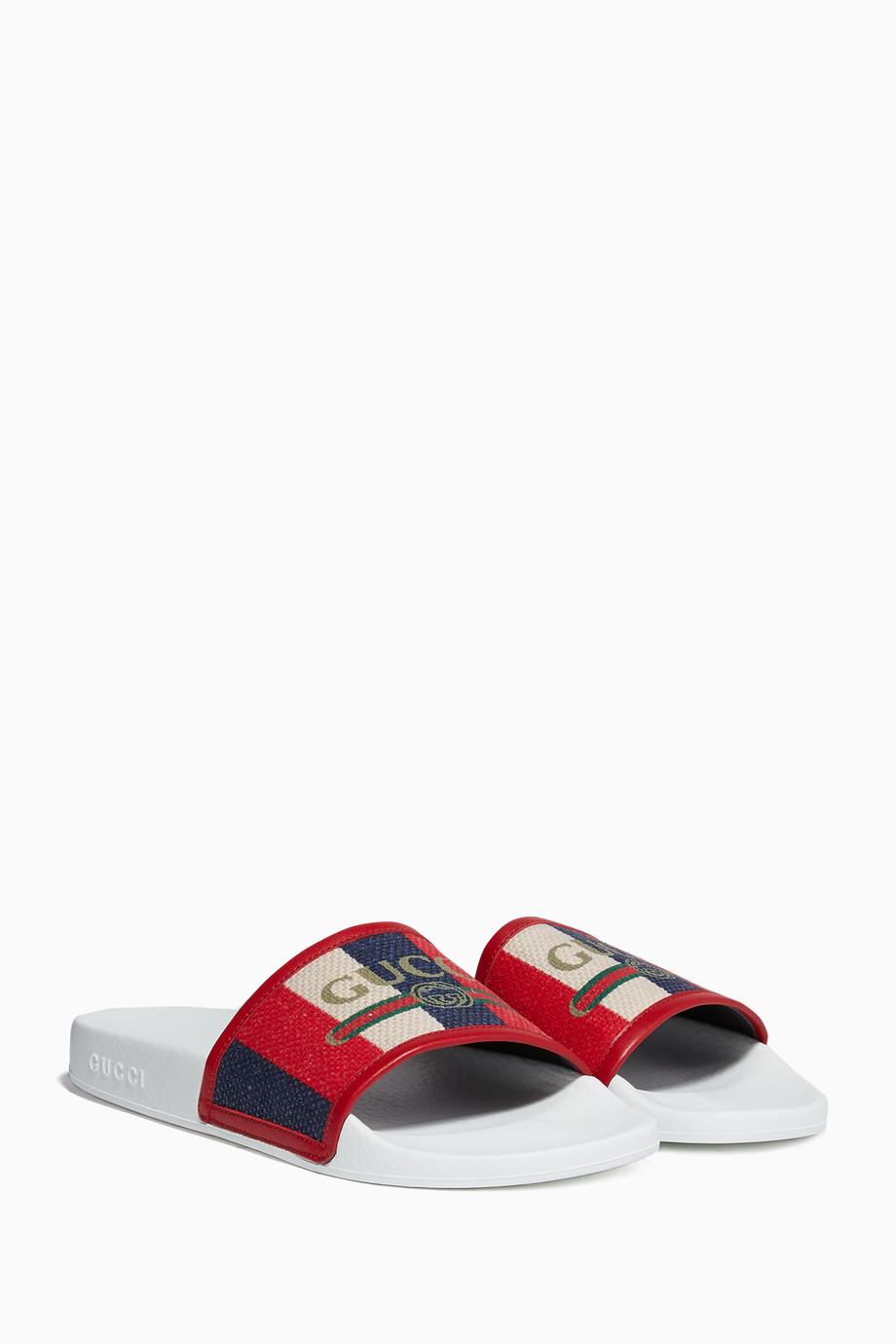 f4632611f Shop Gucci Multicolour Red Logo Striped Sylvie Slide Sandals for ...