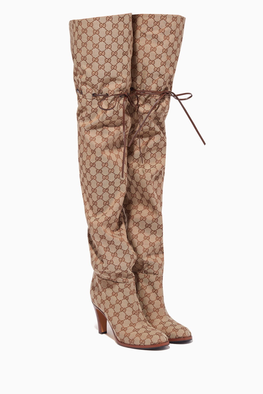 fb3aac53df9 Shop Gucci Neutral Original GG Canvas Over-The-Knee Boots for Women ...