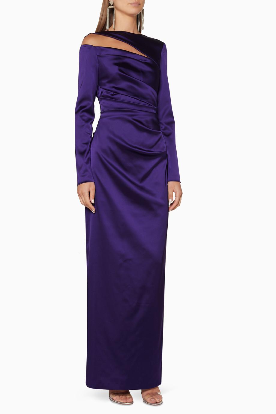 e86e4cfd7c1d9 تسوق فستان سهرة بتصميم مفتوح وأكمام طويلة أرجواني تالبوت رانهوف ...