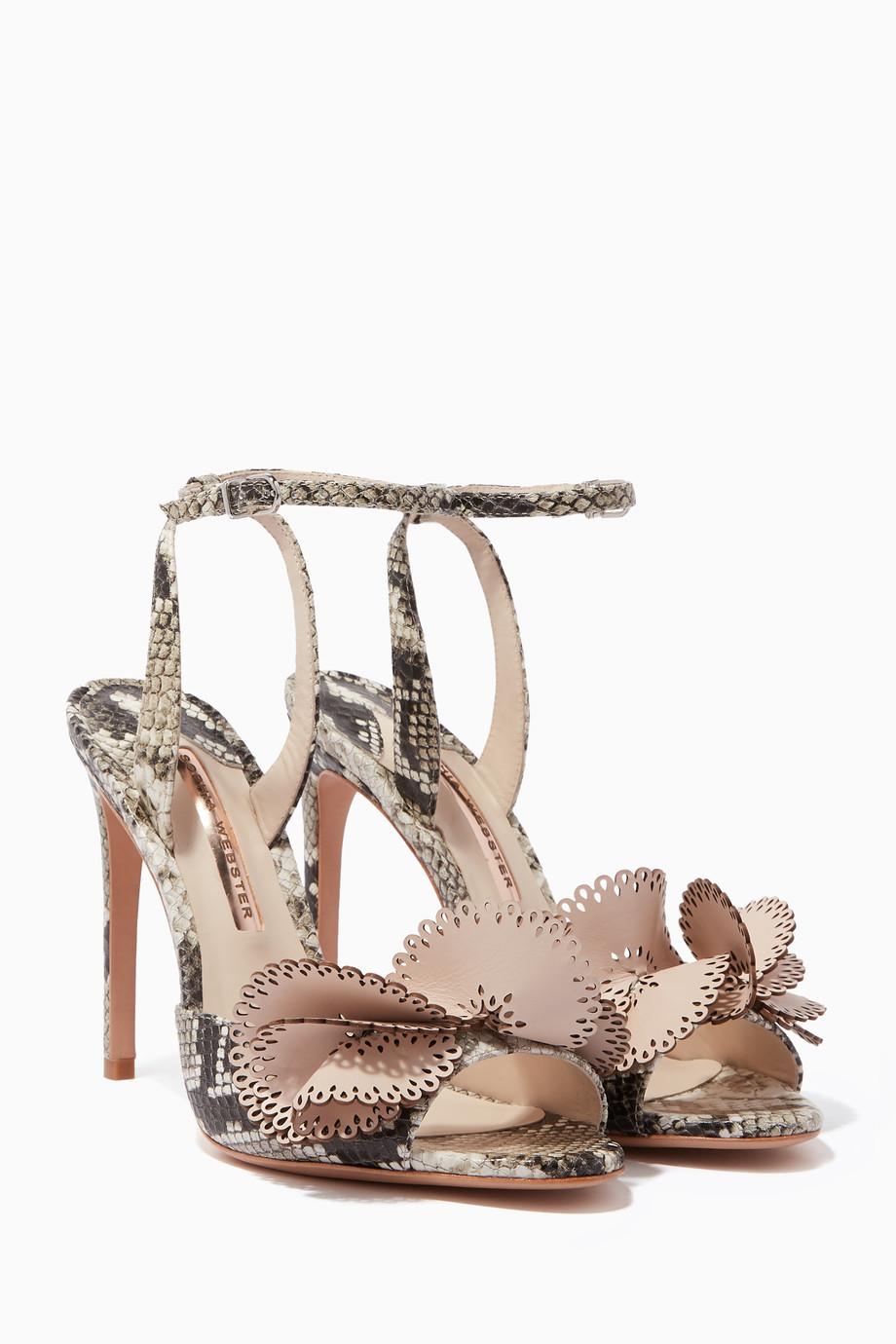 c934ee37f Shop Sophia Webster Neutral Beige Snake-Print Soleil Sandals for ...