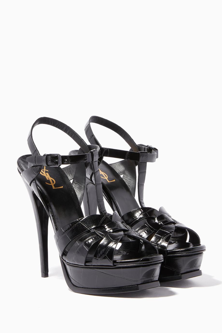 c24aa3227d Shop Saint Laurent Black Black Crocodile-Embossed Leather Tribute ...