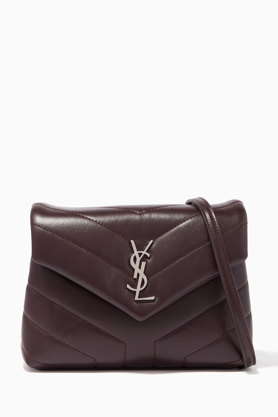 f95539e2e2cc Shop Saint Laurent Purple Black-Tulipe Loulou Leather Strap Wallet for  Women