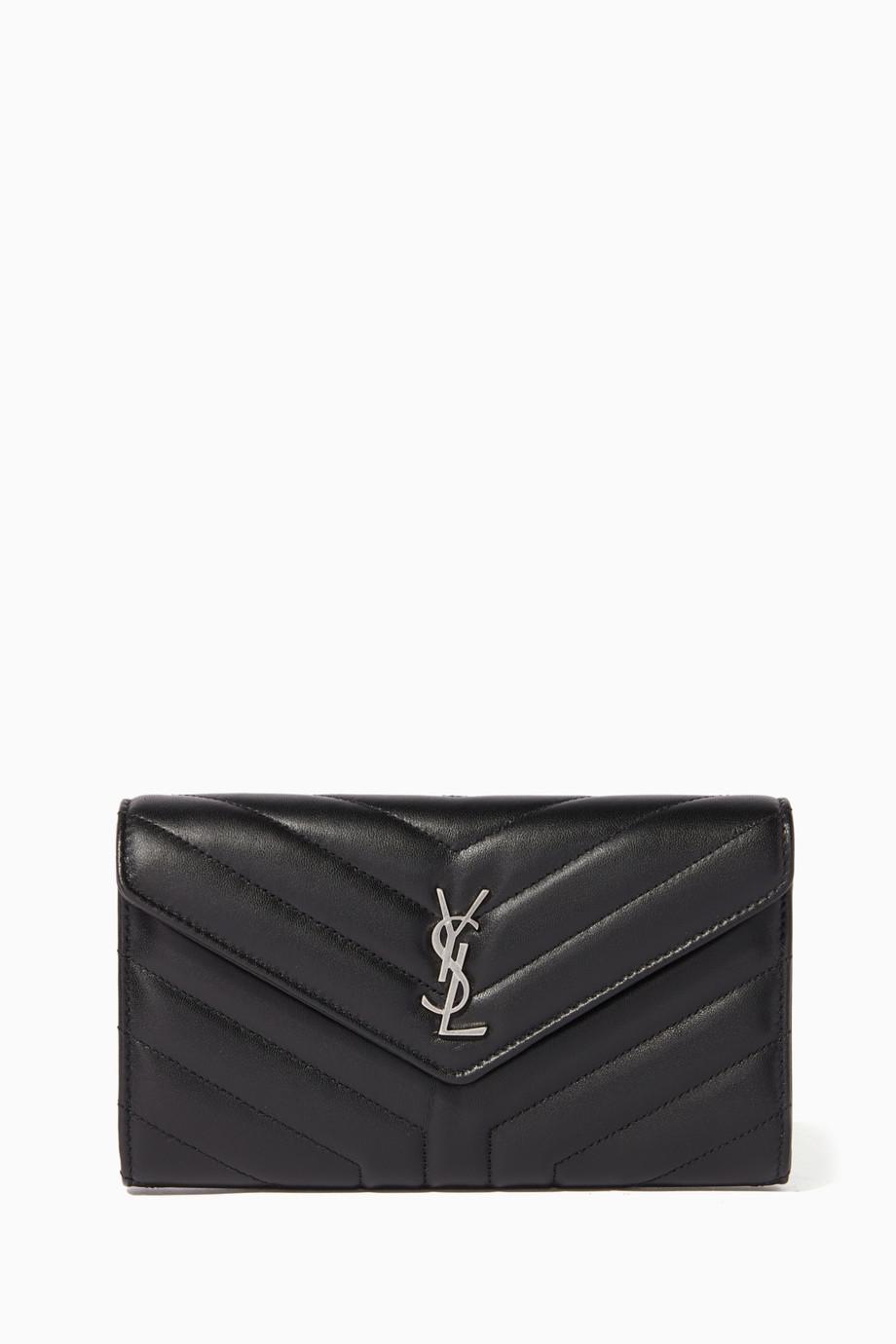 62adbc27198e Shop Saint Laurent Black Black Matelassé Lamb Leather Loulou Wallet for  Women
