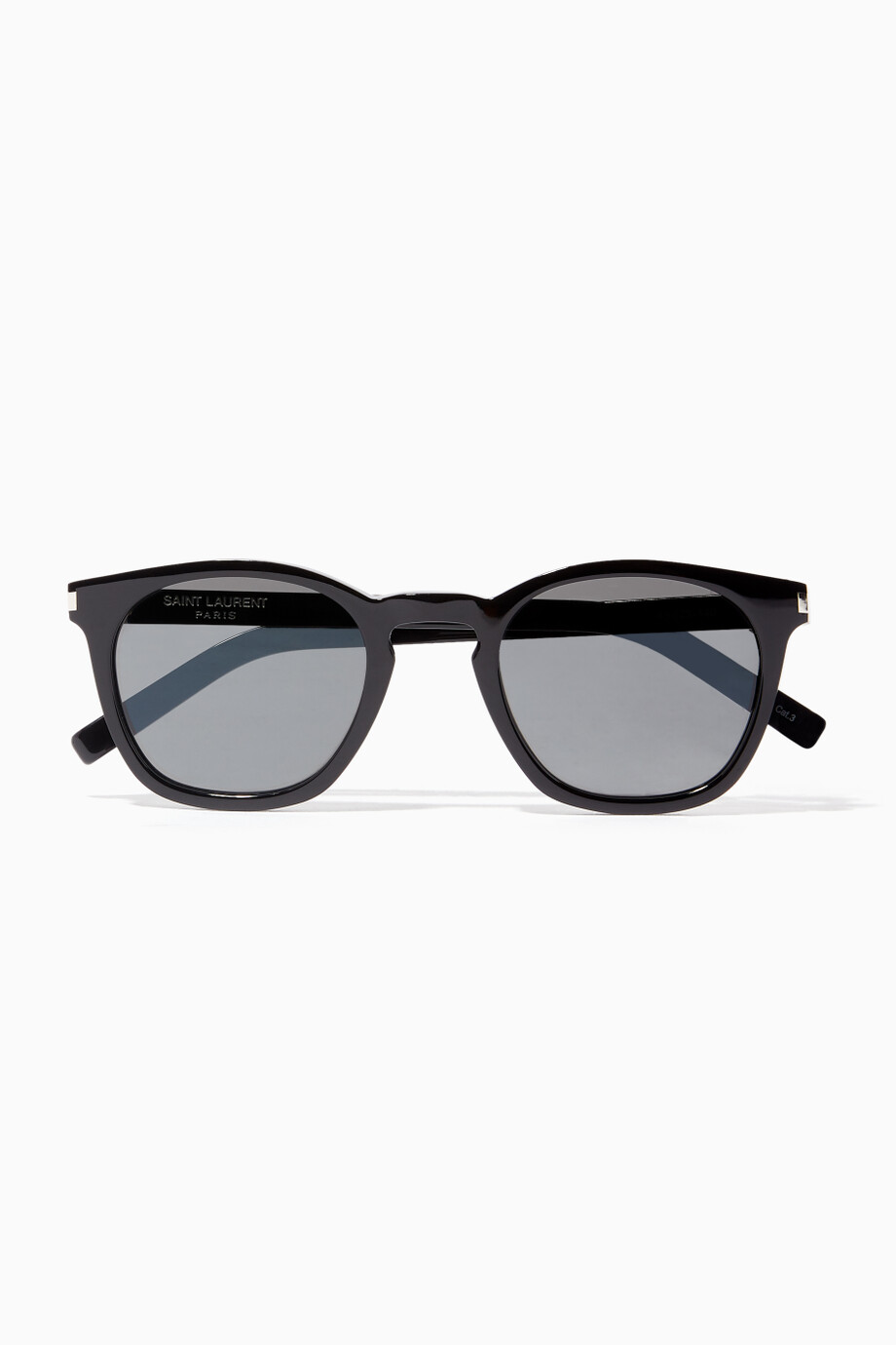 ae5d2dc457c84 Shop Laurent Black Shiny-Black Acetate 28 Sunglasses With Smoke ...