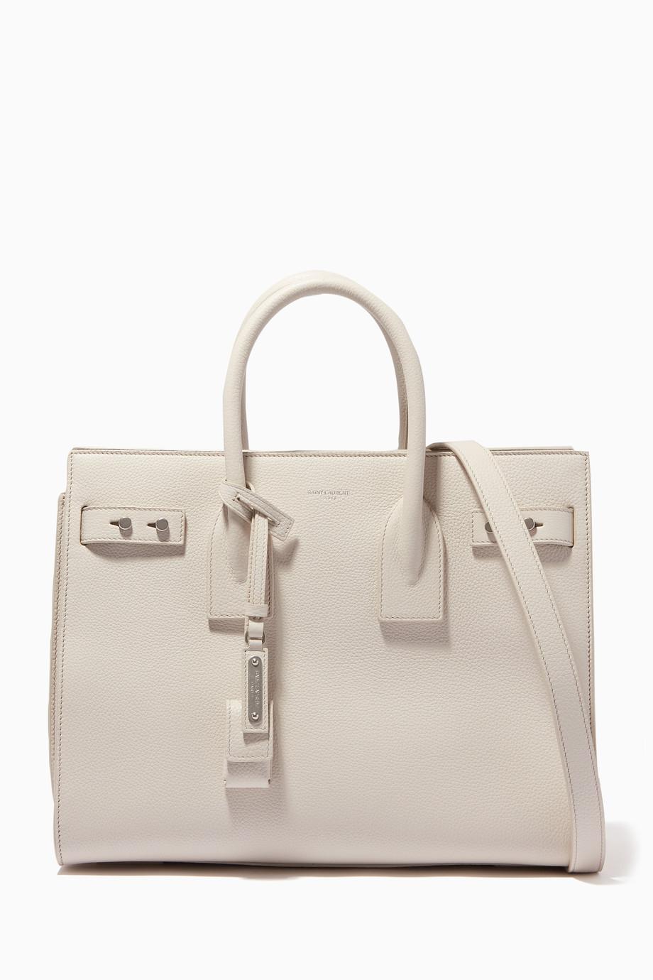 Shop Saint Laurent White Icy-White Small Sac De Jour Tote Bag for ... b83d28d45183c
