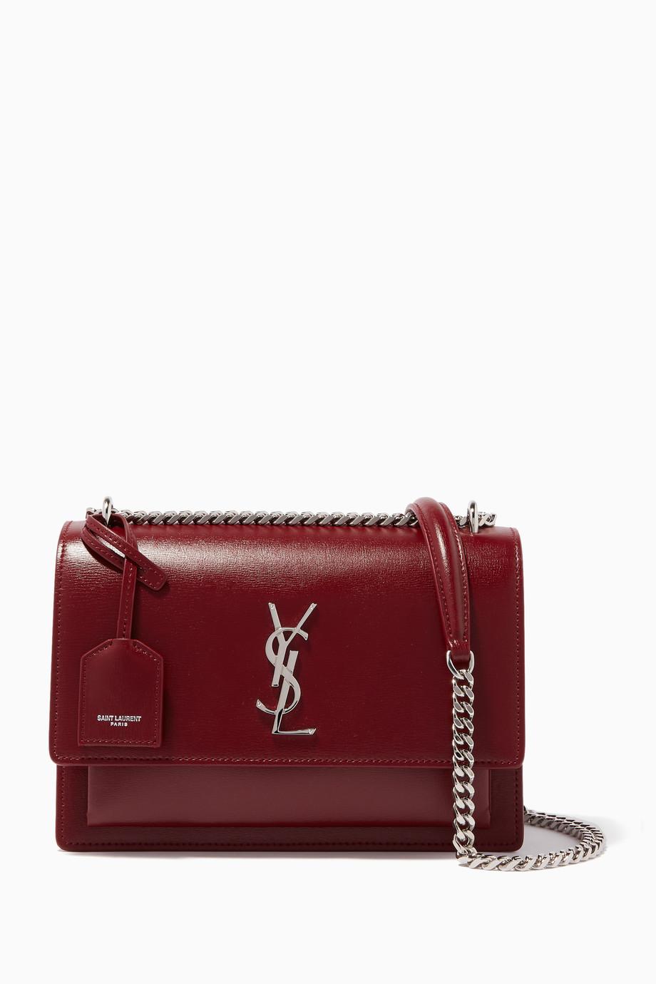 Shop Saint Laurent Red Dark-Red Medium Sunset Leather Cross-Body Bag ... 3d6b67cfbe1a9
