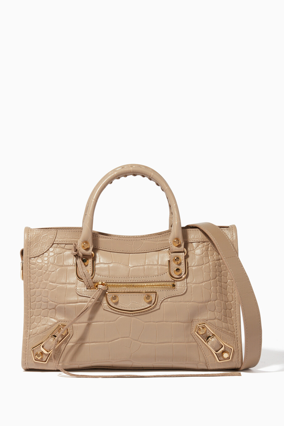 2dc91d3234 Shop Balenciaga Neutral Beige Small Classic Metallic Edge City Tote ...