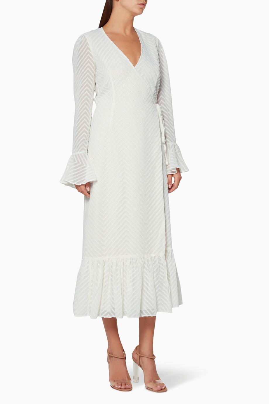 a78a3476d24 Shop SHONA JOY Neutral Ivory Jean Wrap Midi Dress for Women ...