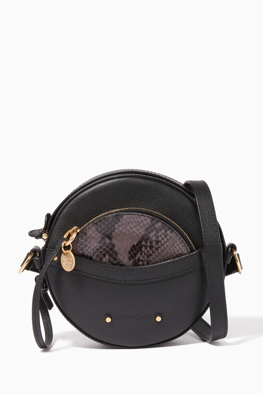 dc8139e2 Shop See By Chloé Black Black Rosy Round Shoulder Bag for Women ...