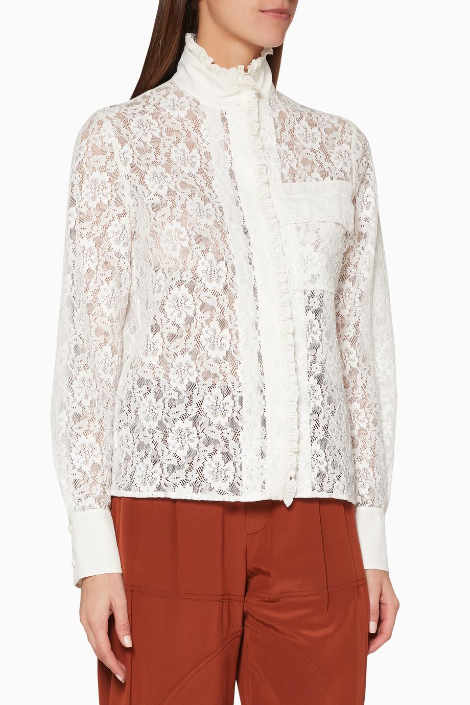 8c84fc60b9c17f Shop Chloé White White Lace High-Neck Shirt for Women   Ounass UAE