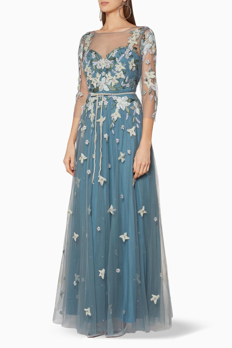 358175fbd275a Shop Marchesa Notte Blue Blue Floral-Appliquéd Gown for Women ...