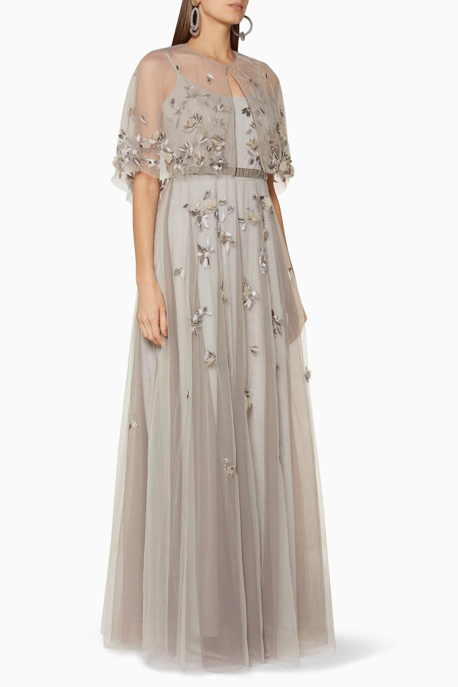 03ee1ecd1dac7 Shop Marchesa Notte Silver Silver Floral-Embroidered Cape Gown for ...