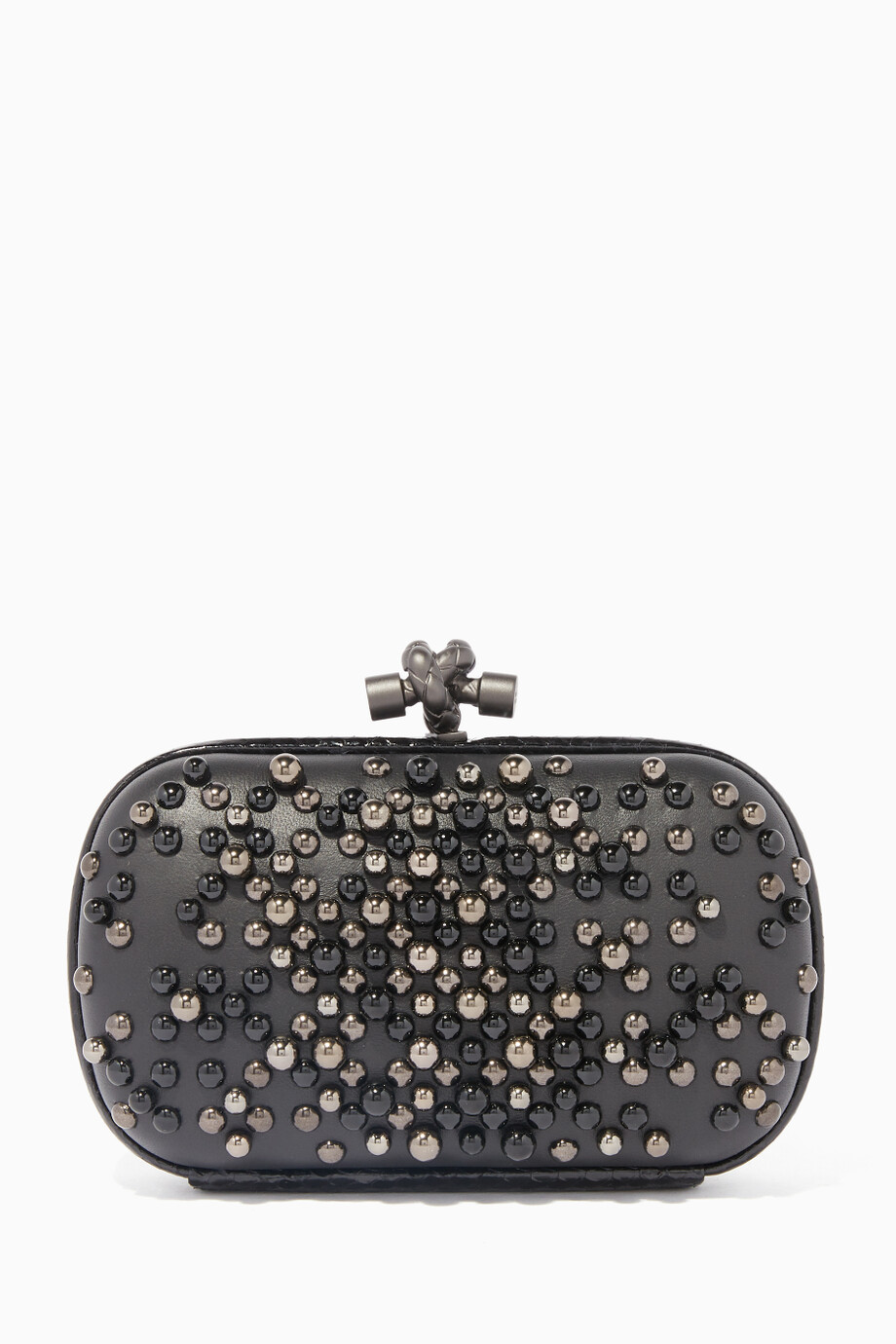 Shop Bottega Veneta Gold Black Spheres Knot Clutch for Women ... e0088cd25b7d6
