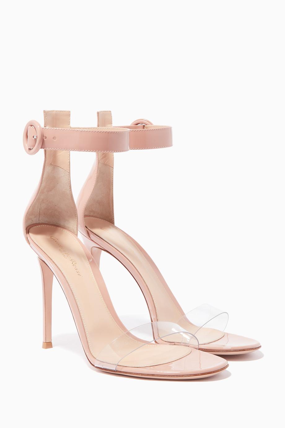1cc5abf47da Shop Gianvito Rossi Pink Dahlia-Pink Leather   PVC Portofino Sandals ...