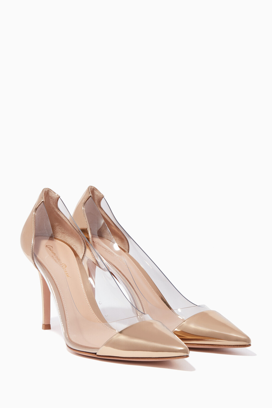 e256d2155d6 Shop Gianvito Rossi Gold Gold Patent Leather Plexi 85 Pumps for ...
