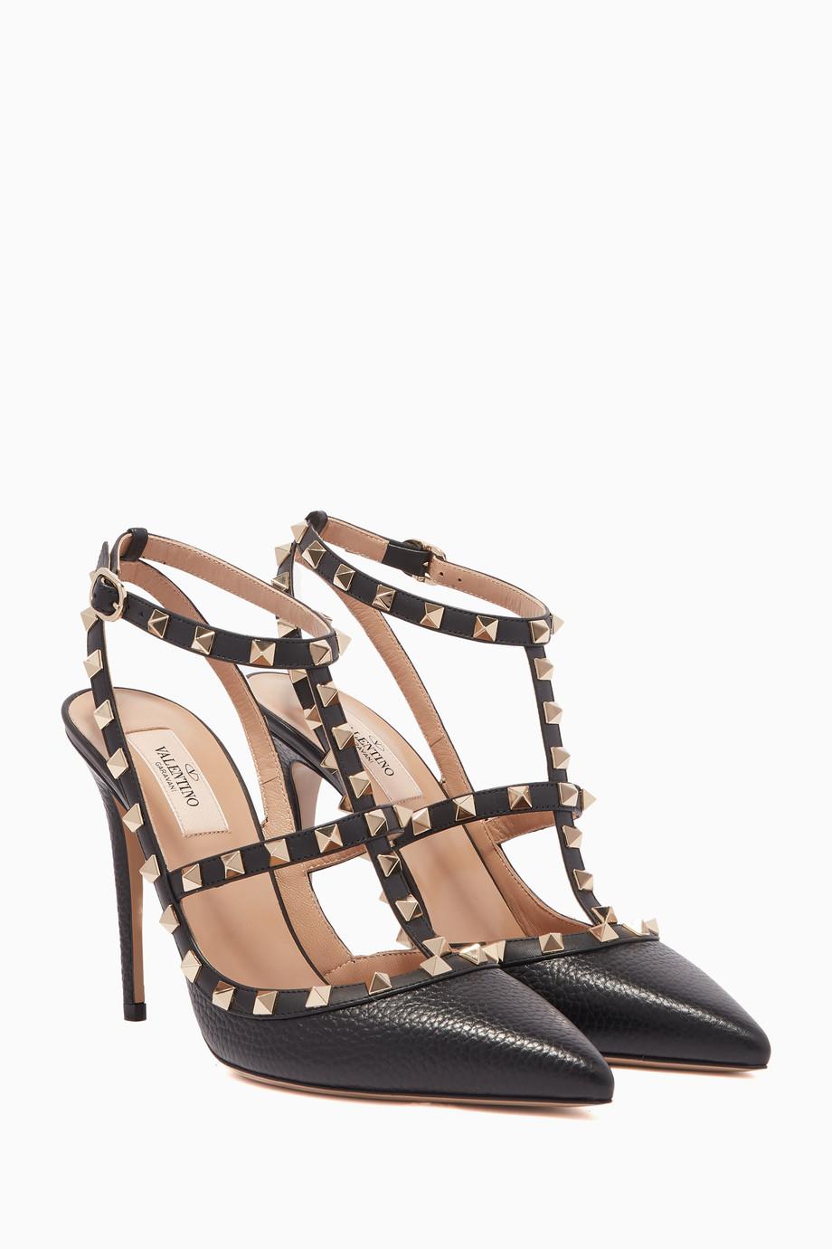 5042a54678c Shop Valentino Black Black T-Bar Leather Rockstud Pumps for Women ...