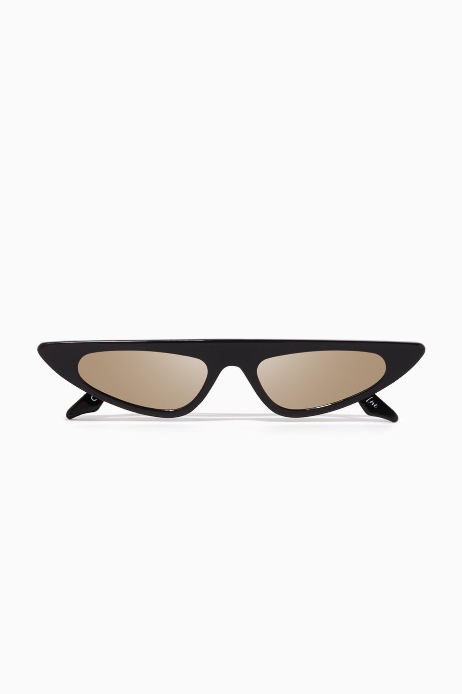 feab93470 تسوق نظارة فلورنسا شمسية بشكل عين القطة سوداء اندي وولف أسود للنساء ...