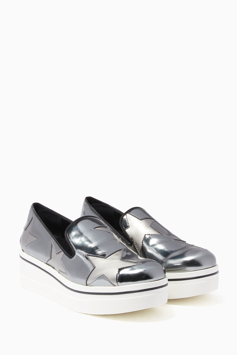 80f4b407e27 Shop Stella McCartney Silver Indium Star Binx Loafers for Women ...