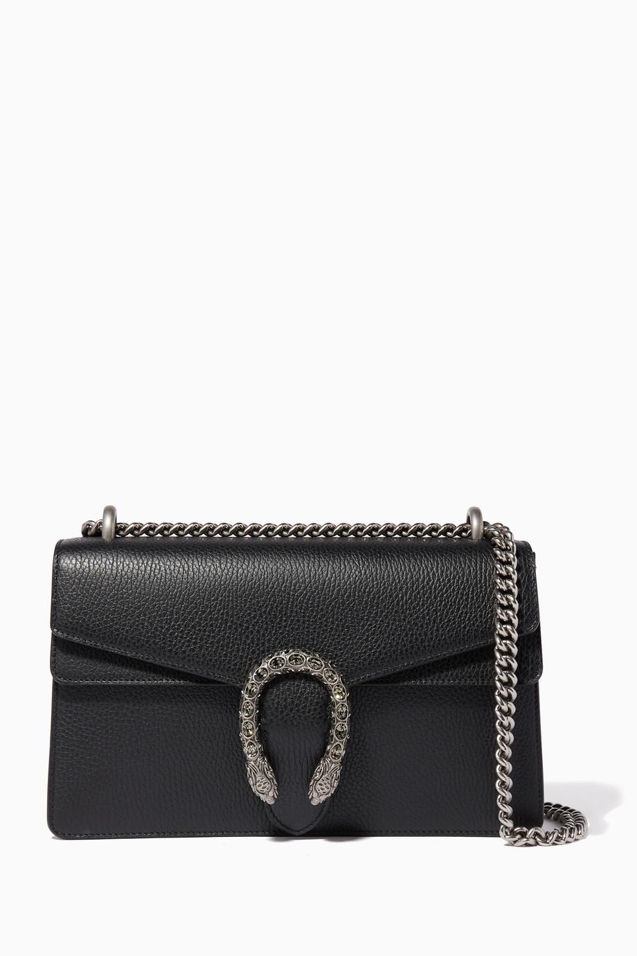 9f099fb07 Shop Gucci Black Black Small Dionysus Leather Shoulder Bag for Women ...