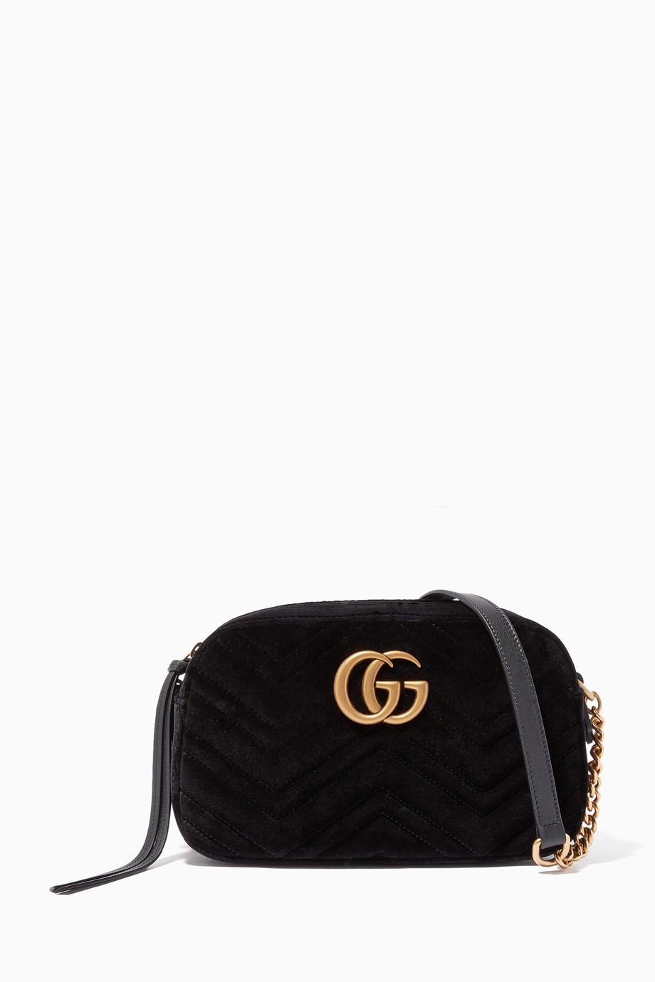 4bc55db4b6f4 Shop Gucci Black Black Velvet Small GG Marmont Shoulder Bag for ...