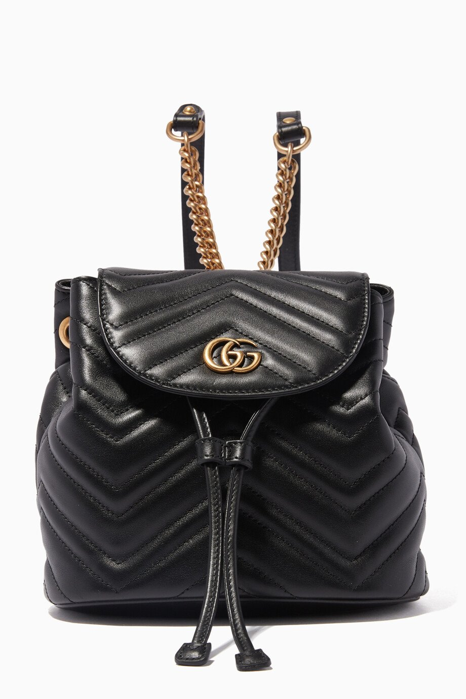 7a5eb0147e92 Shop Gucci Black Black Mini GG Marmont 2.0 Leather Backpack for ...