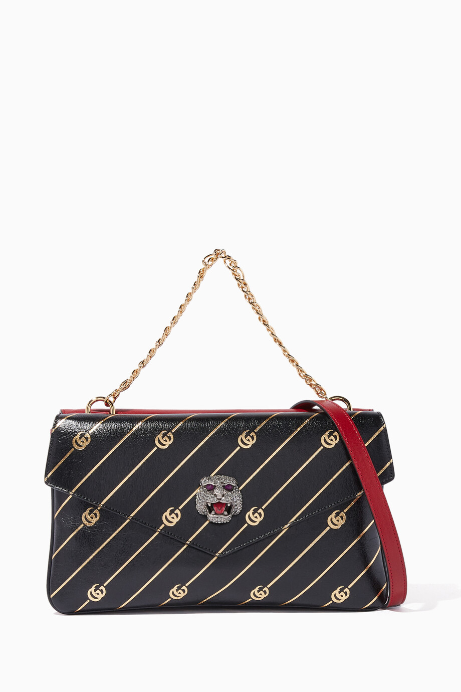 59686637fa02 Shop Gucci Red Black & Gold Thiara Medium Double Shoulder Bag for ...