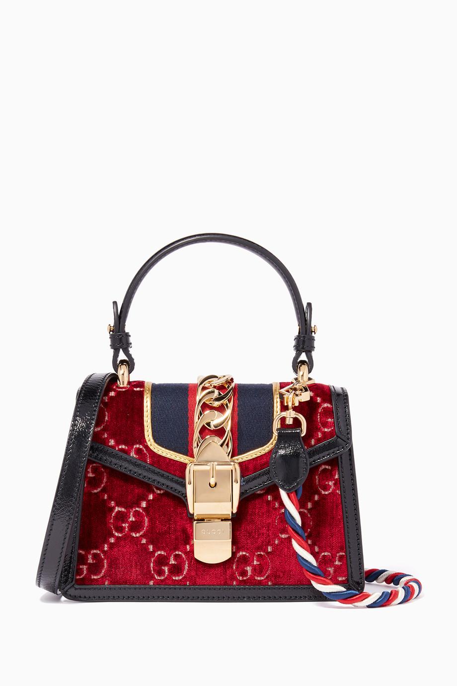 f396eb680e5 Shop Gucci Red Red Mini Sylvie Embossed Velvet Cross-Body Bag ...