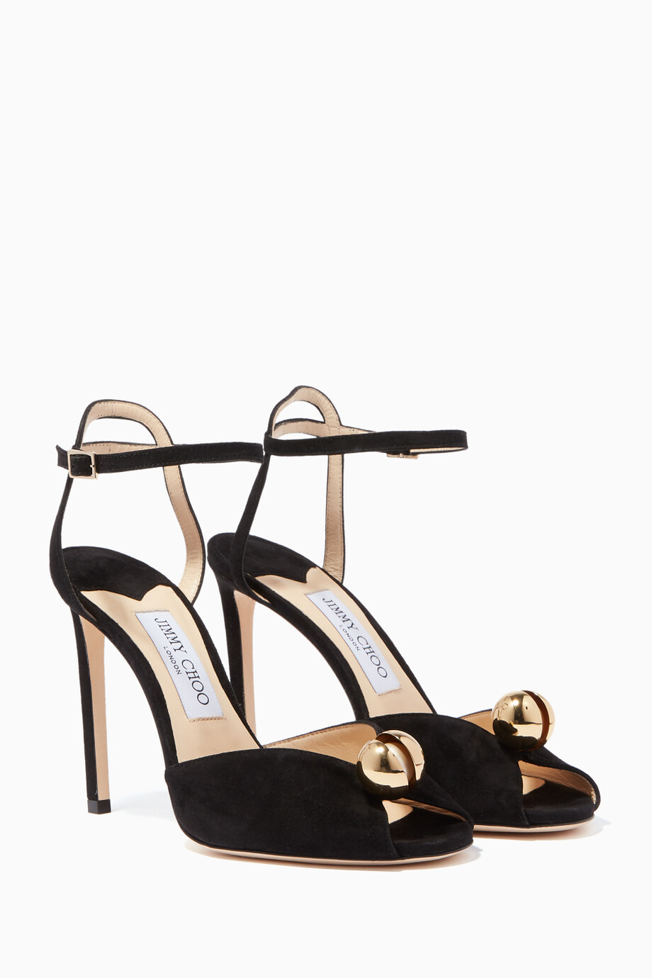 a517a58f844 Shop Jimmy Choo Black Black Sacora Suede Sandals for Women