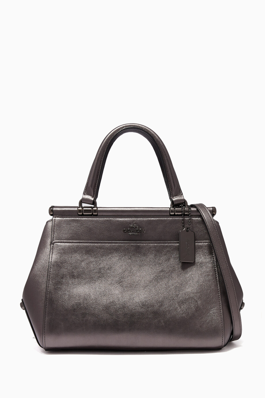 58db8e77542c12 Shop Coach Grey Metallic-Graphite Leather Grace Tote Bag for Women ...