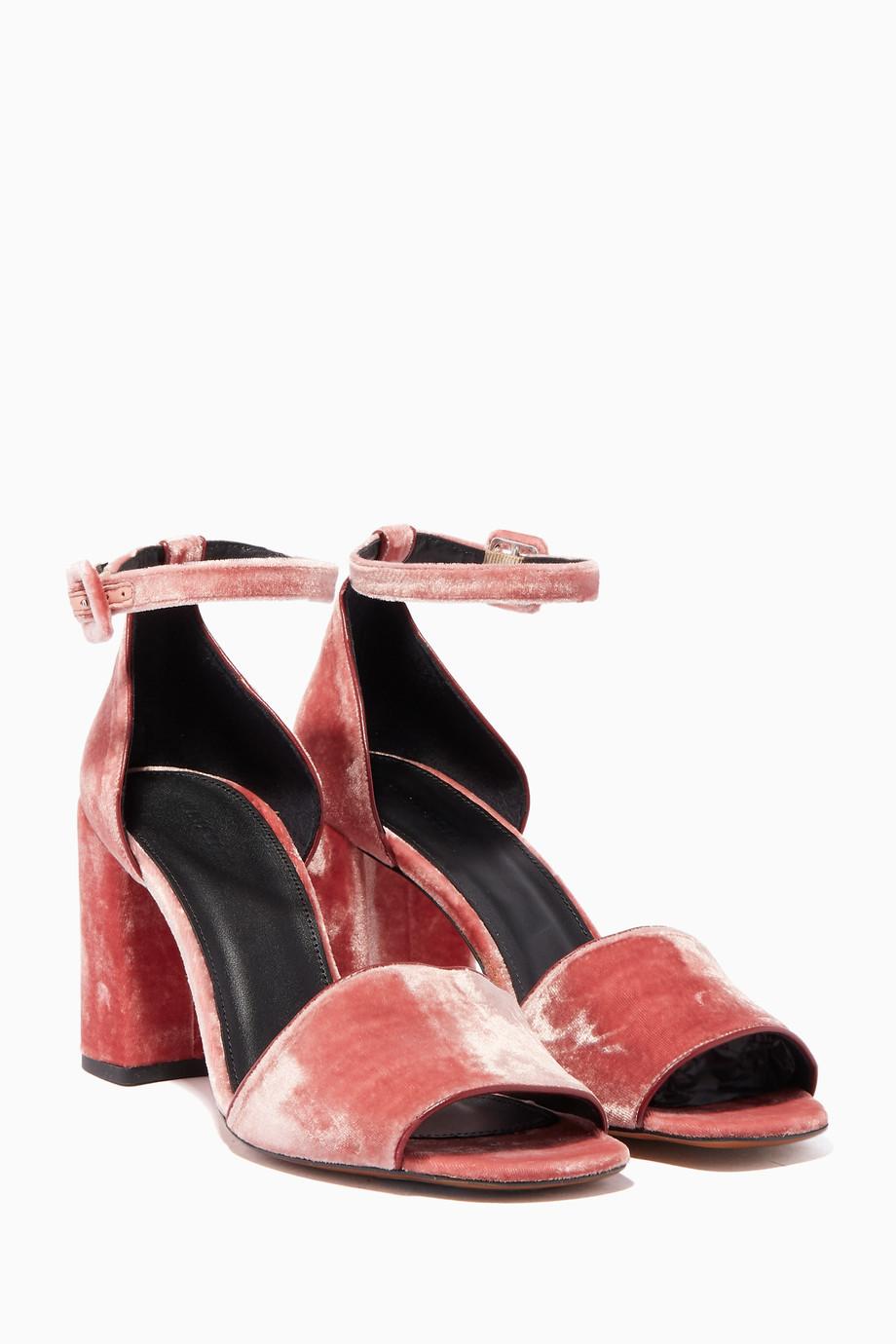 f5574c01e14 Shop WHISTLES Pink Pink Velvet Hedda Sandals for Women ...