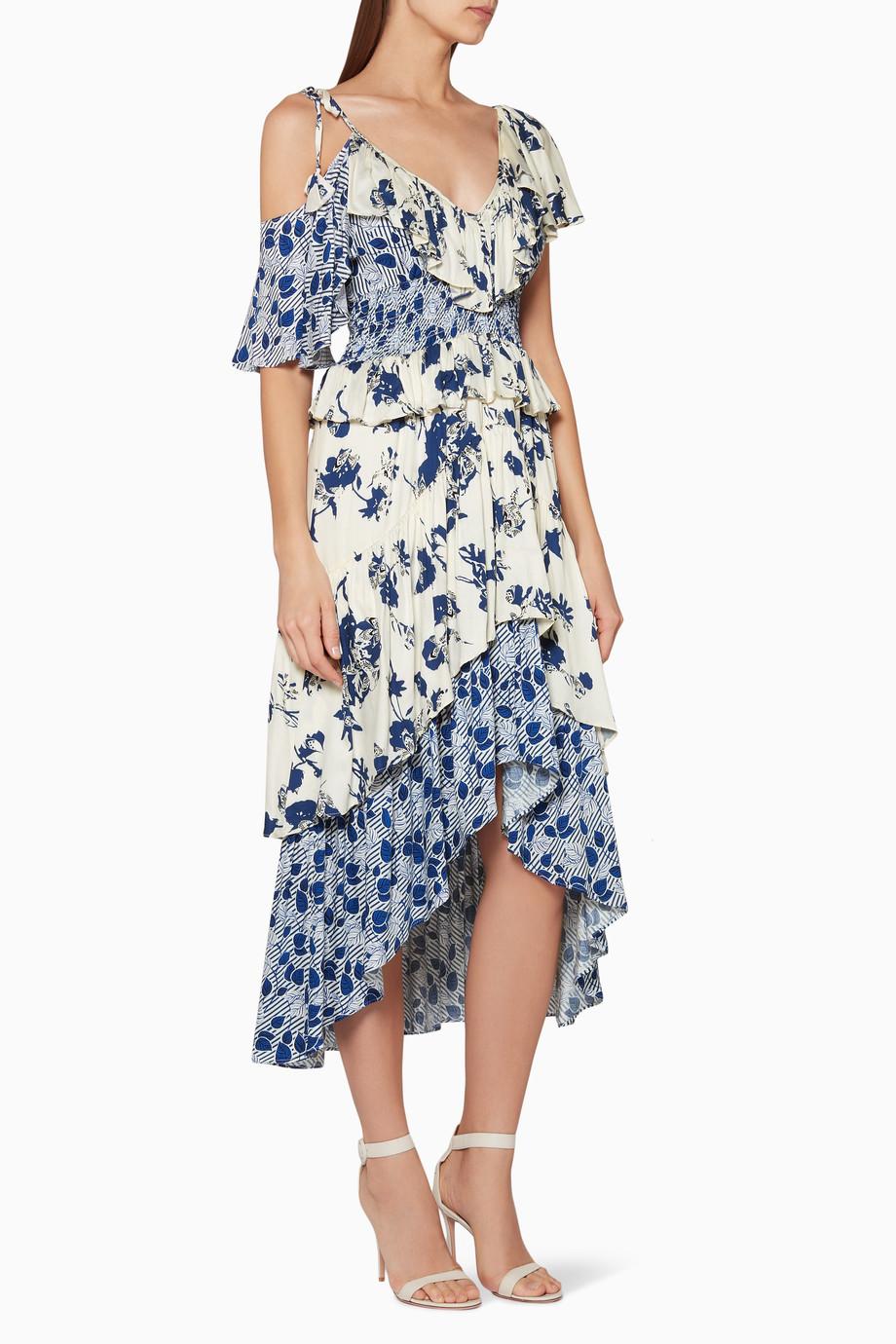 dd074a743c45f تسوق فستان ليف متوسط الطول مطبوع أبيض وأزرق MISA أزرق للنساء