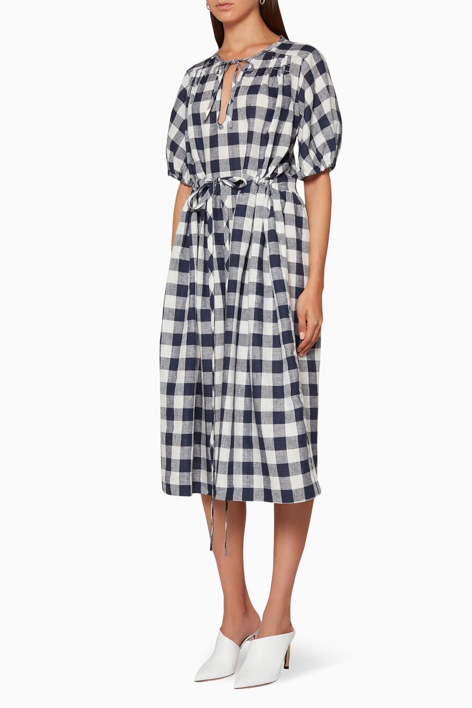 fe866c41831 Shop Lee Mathews Multicolour Navy   White Nellie Gingham Dress for ...