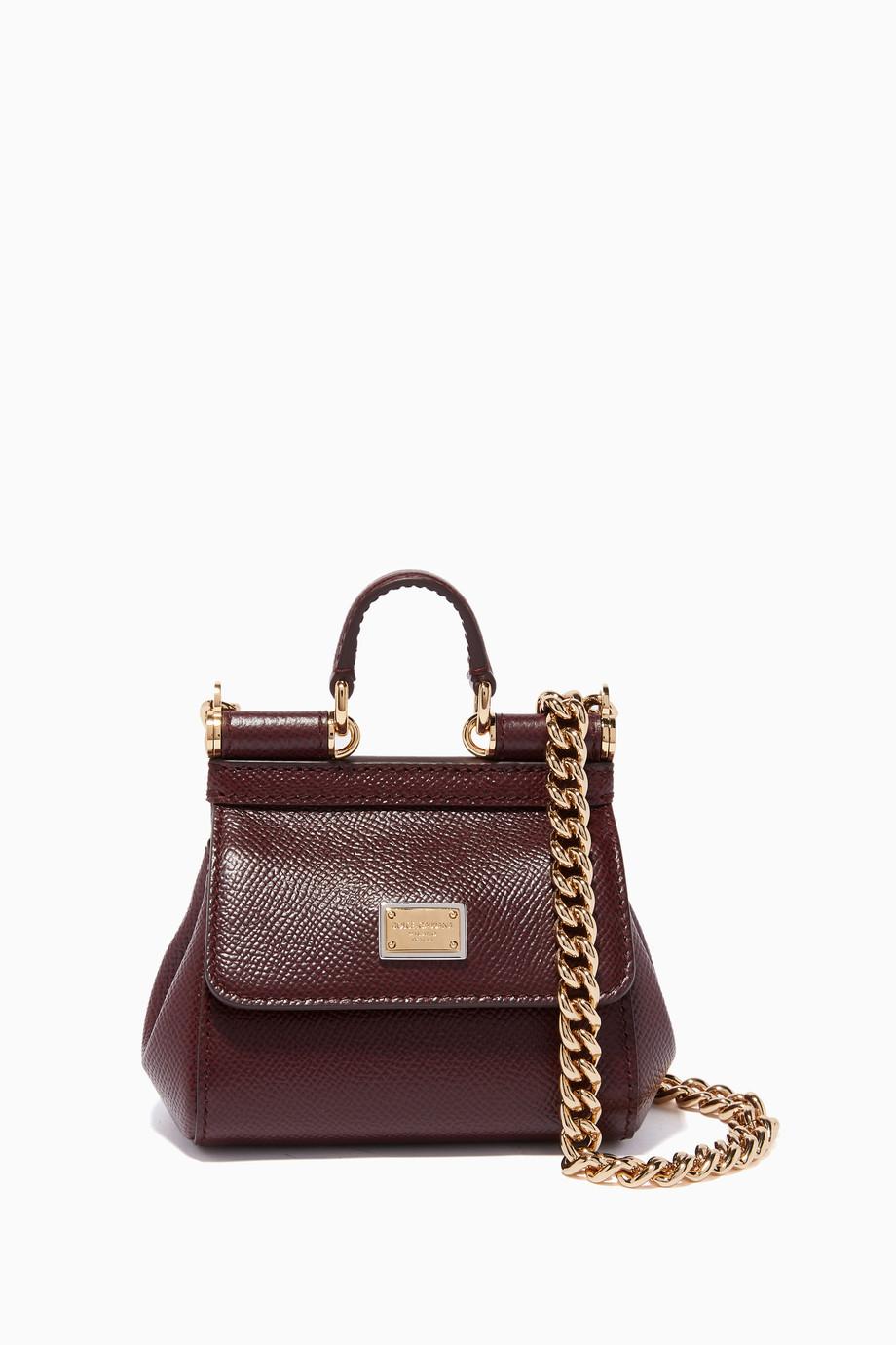 ed15f6cfa تسوق حقيبة كروس ميس سيسلي صغيرة برغندي Dolce & Gabbana أحمر للنساء ...