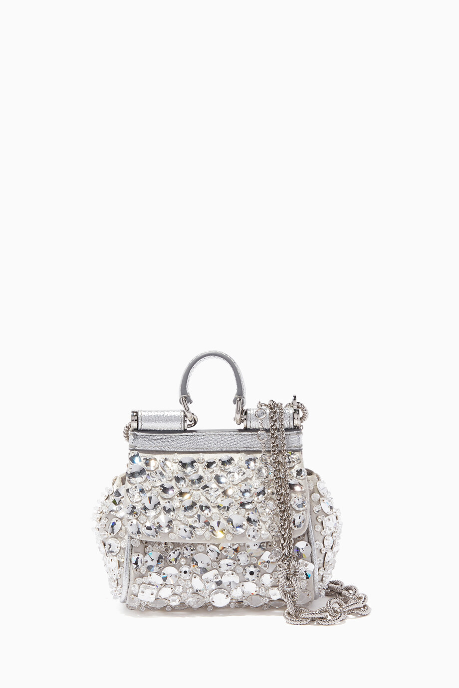 d006c0c9c94 Shop Dolce & Gabbana Silver Silver Micro Sicily Crystal-Embellished ...