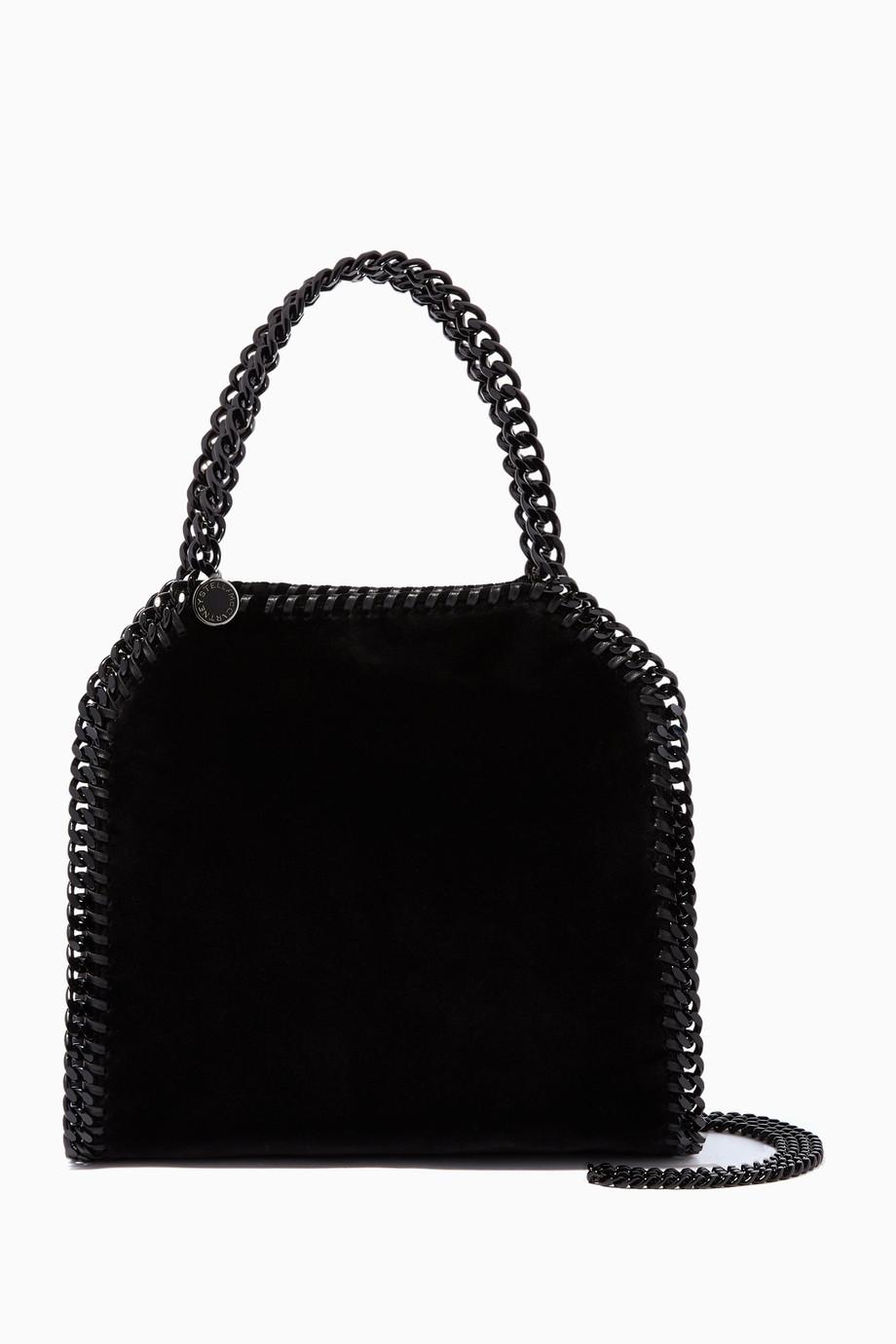 0e38c1e639 Shop Stella McCartney Black Black Velvet Mini Falabella Tote Bag for ...