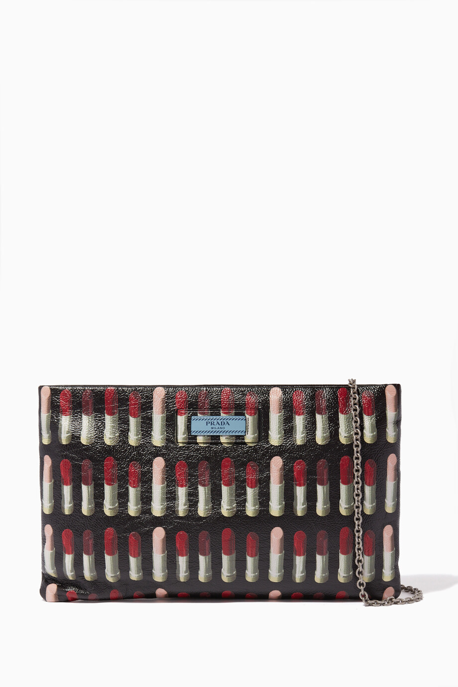 991728455fe6 Shop Prada Black Black Iconic Lipstick Print Leather Clutch for ...