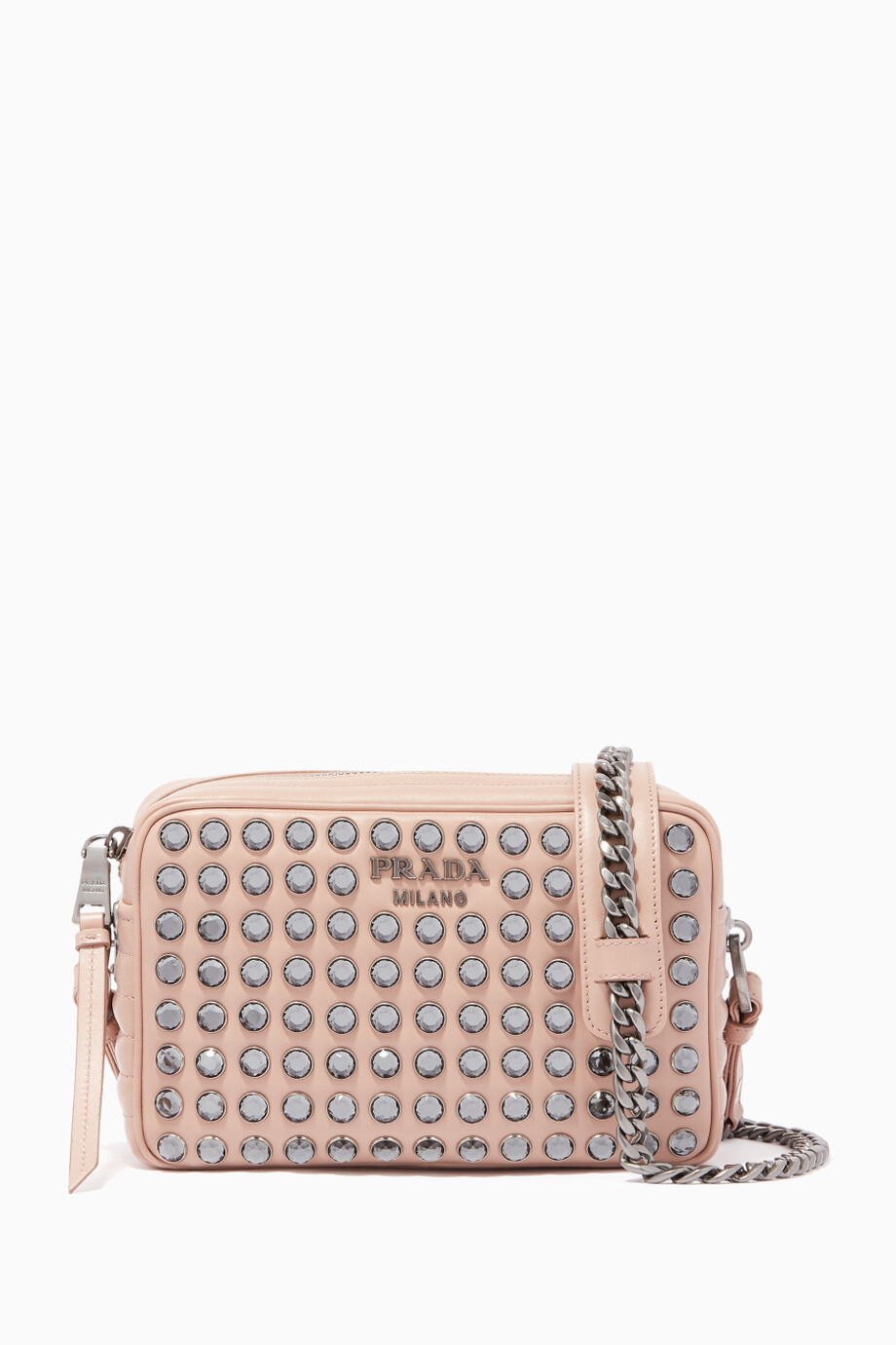 408ee2ea34cc Shop Prada Pink Light-Pink Diagramme Crystal Leather Cross-Body Bag ...