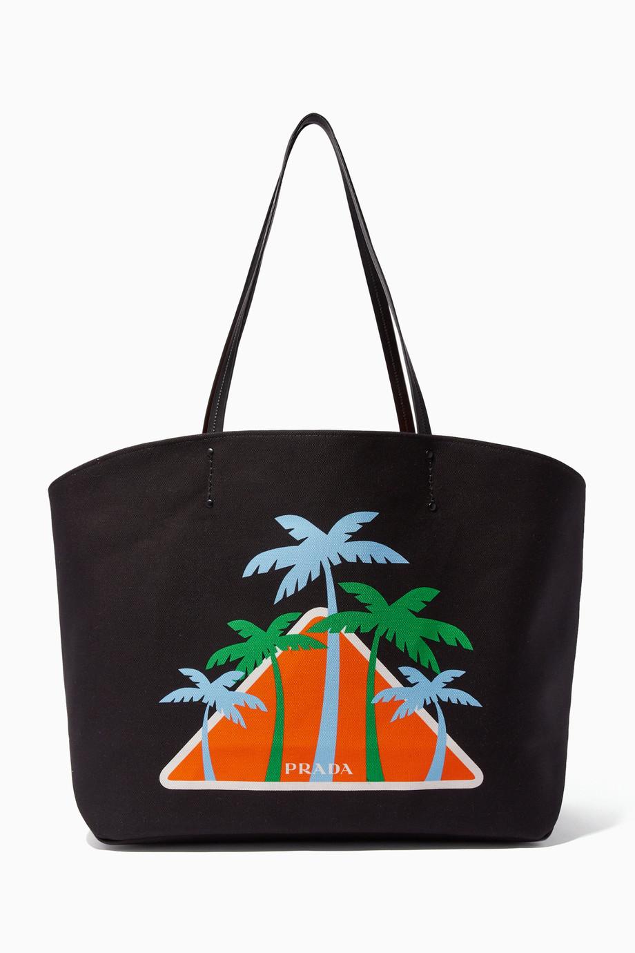 d095cba7a2 Shop Prada Black Black Large Printed Canvas Tote Bag for Women ...
